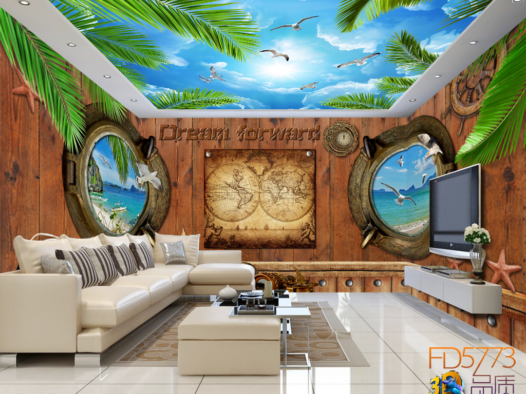 怀旧航海木板蓝天白云海鸥全屋背景墙