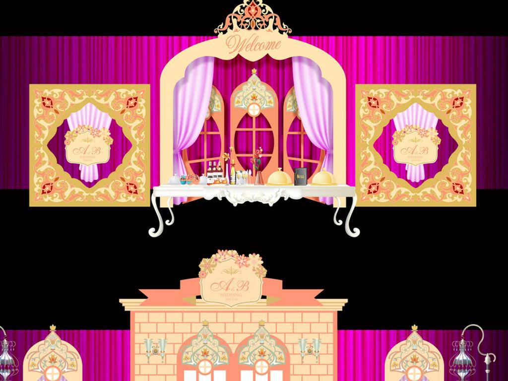 紫色婚礼金色欧式婚礼金色教堂