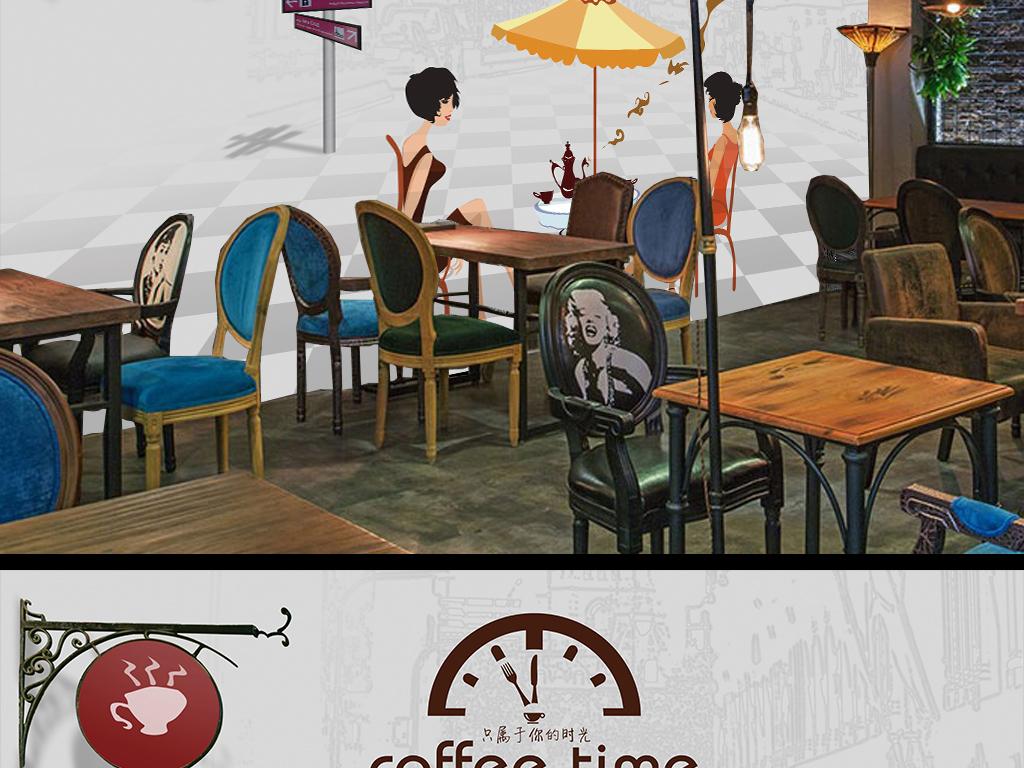 咖啡厅手绘简约欧式欧式背景欧式简约简约欧式咖啡厅背景墙咖啡厅背景