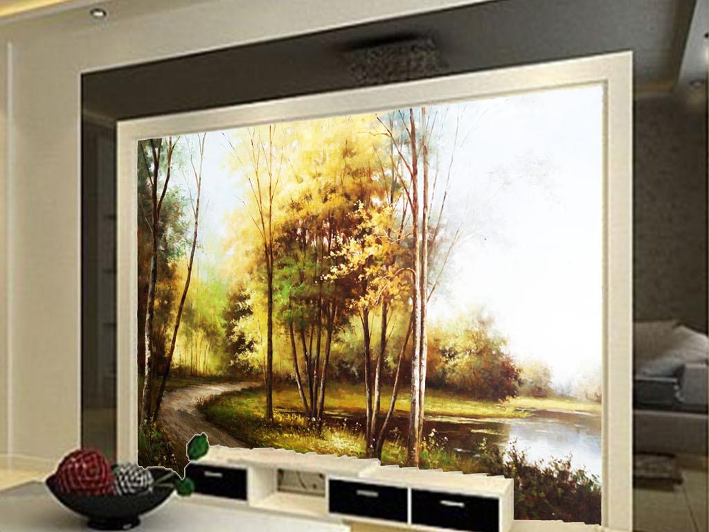 欧式公园油画风景图