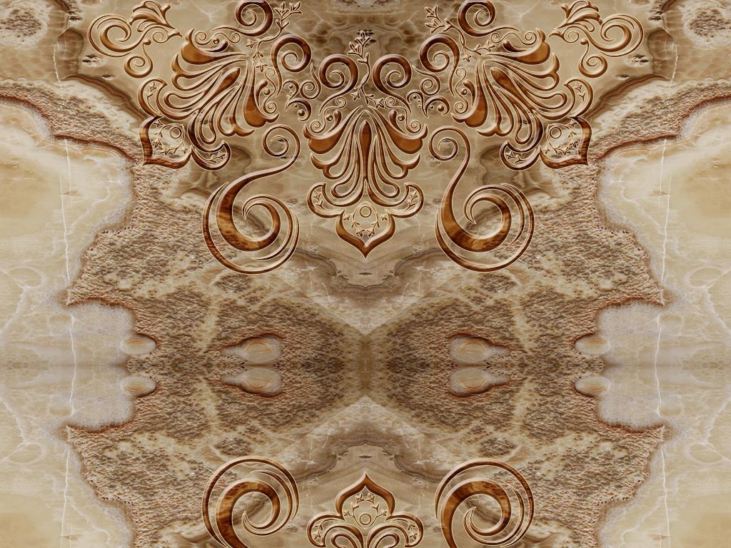 复古欧式花纹大理石纹瓷砖背景墙雕刻路径图