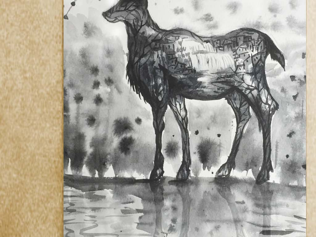 抽象麋鹿梅花鹿水墨玄关背景