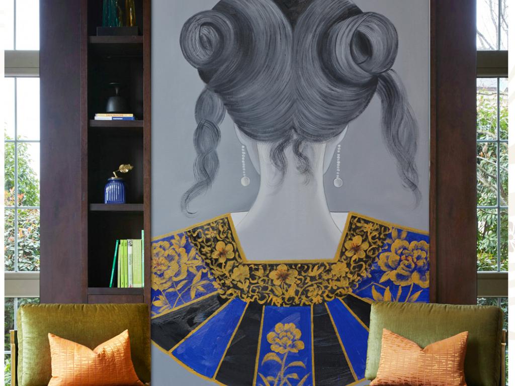 背景墙|装饰画 玄关 油画|立体油画玄关 > 新中式复古背影发饰系列图片