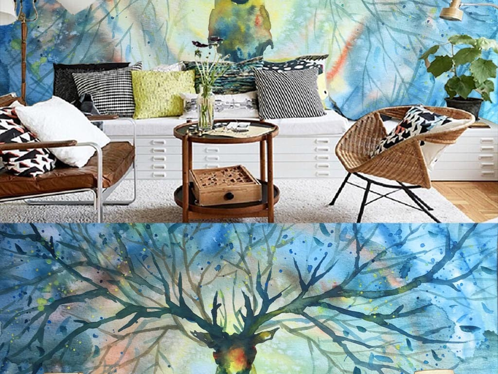 唯美手绘抽象鹿森林装饰背景电视墙