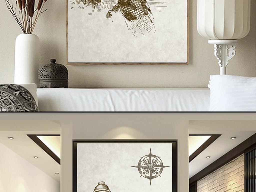 形象墙装饰画欧式玄关玄关背景复古背景欧式复古简约