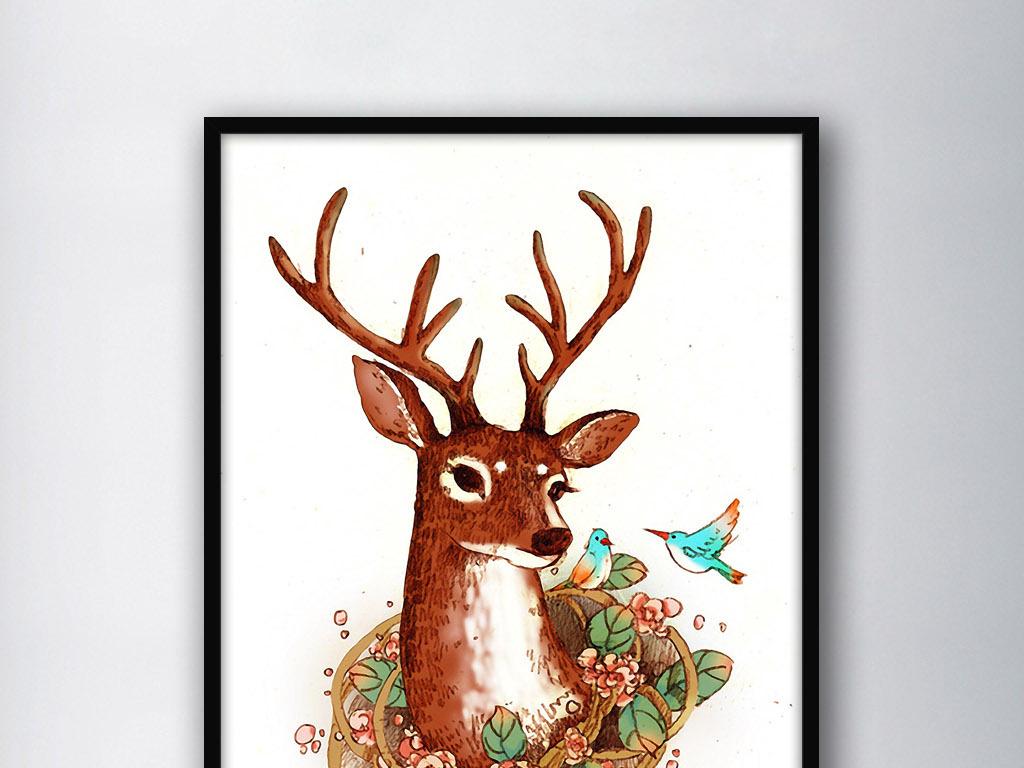 麋鹿图片手绘唯美素描