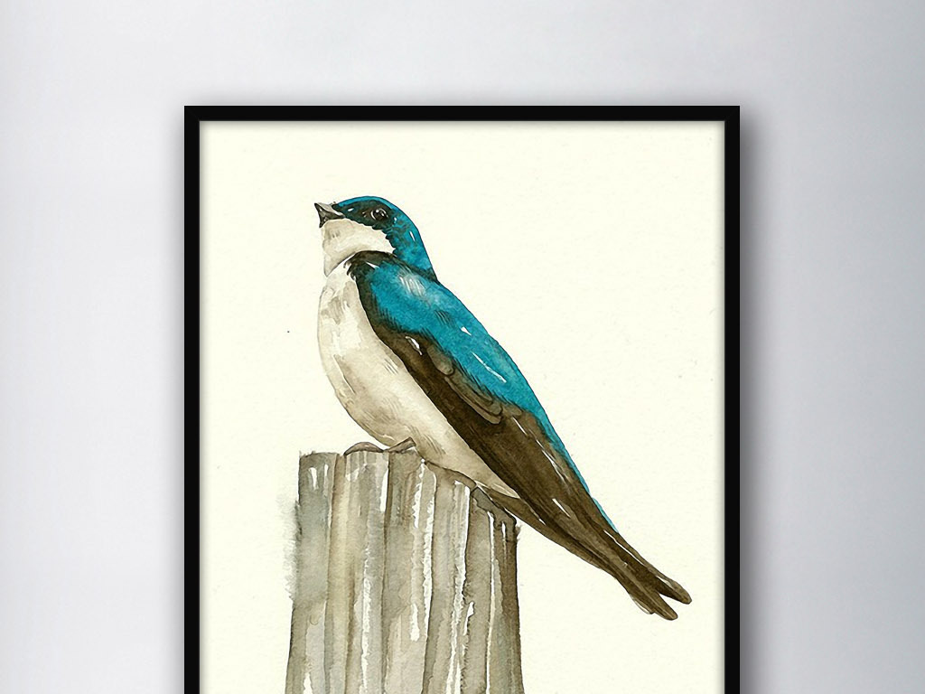 蓝鹊北美欧式现代简约家居手绘水彩装饰画