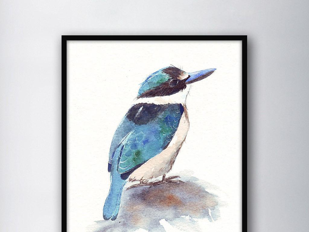 可爱翠鸟北欧简约手绘小清新现代家居装饰画