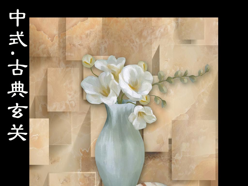 3d复古欧式油画花瓶静物玄关画
