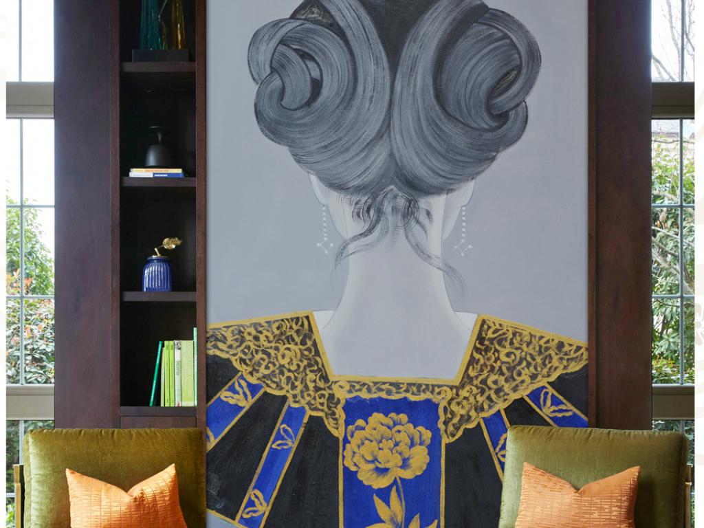 背景墙 玄关 油画|立体油画玄关 > 新中式古典背影发饰系列高清油画图片
