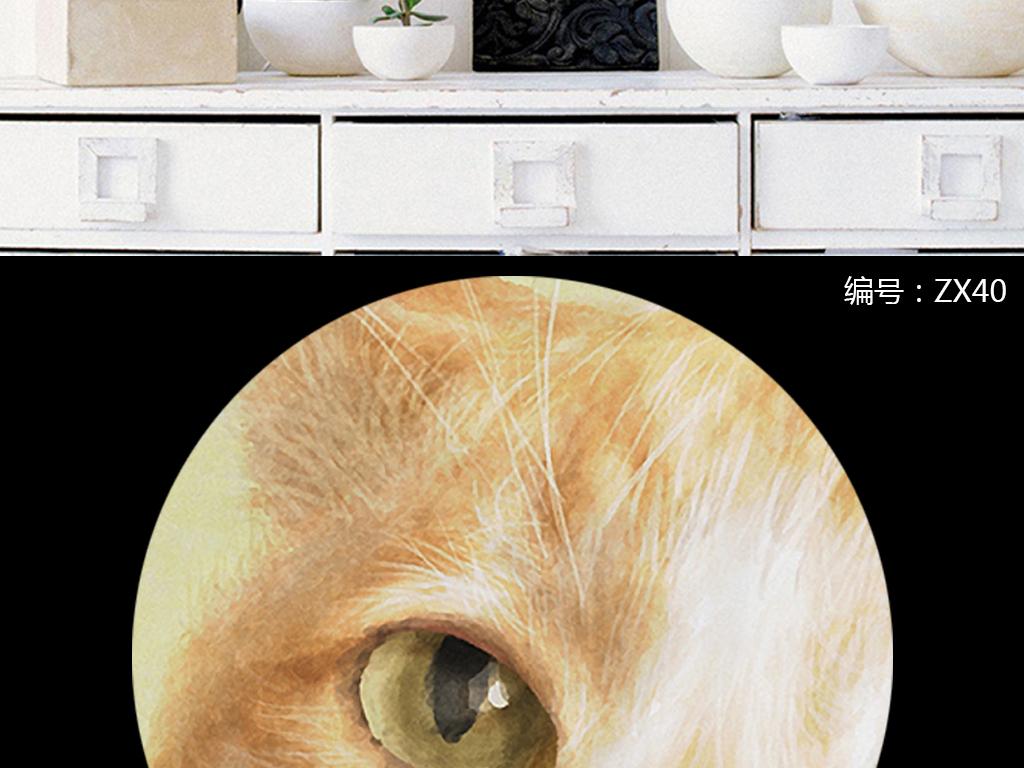 现代简约小清新动物手绘可爱猫咪无框画