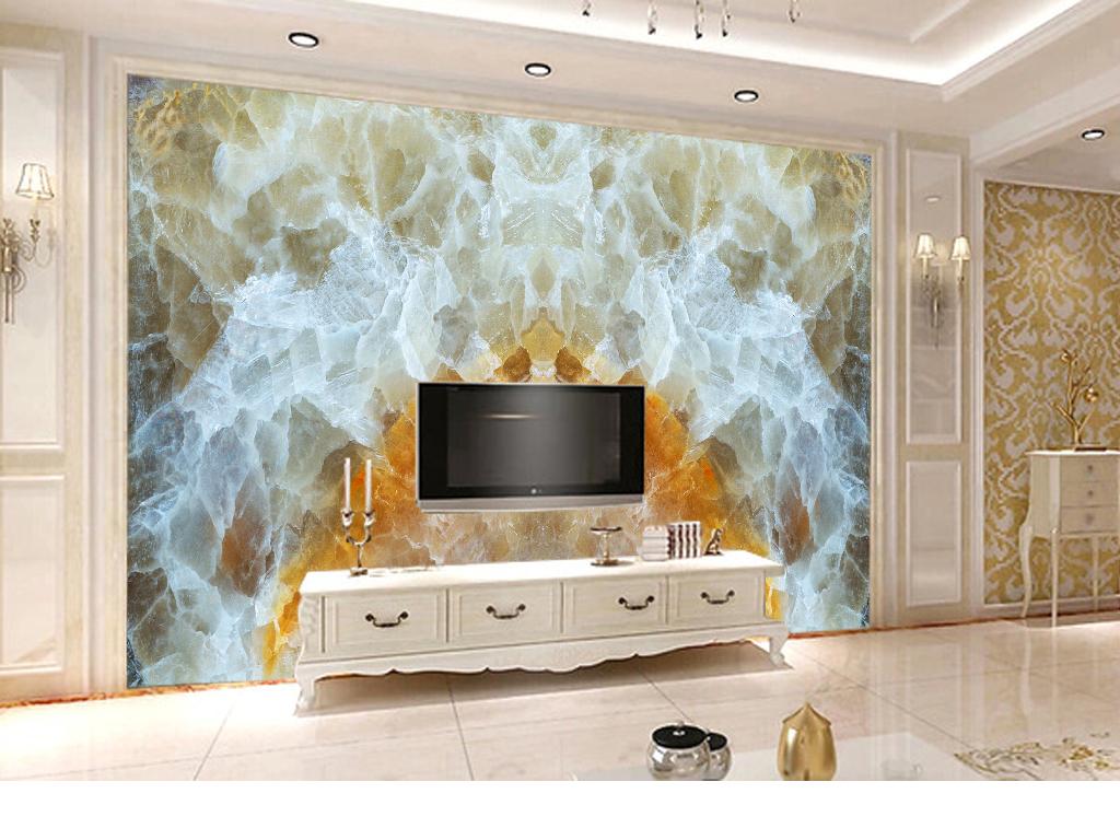 客厅玉石电视背景墙大理石电视墙家装装修背景