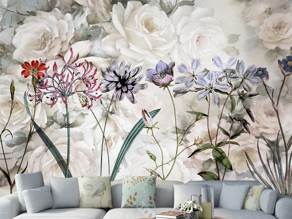 手绘复古玫瑰花草背景墙