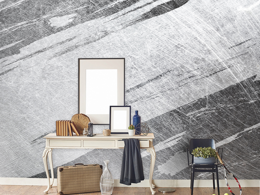 抽象背景墙黑白装饰画复古几何图案北欧背景图片