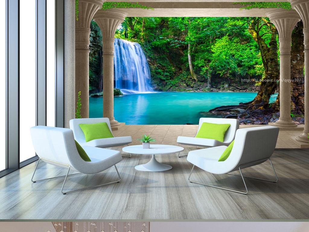 我图网提供精品流行罗马柱瀑布风景3d背景墙