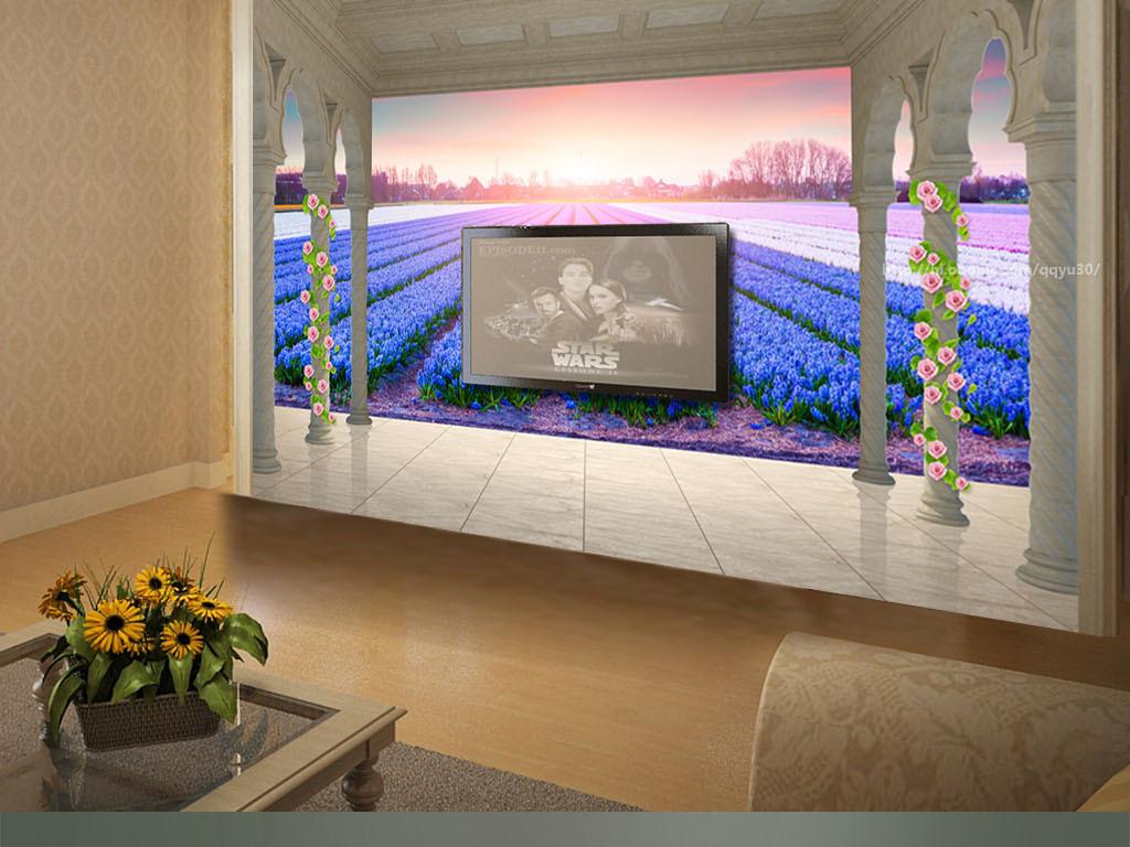 欧式阳台花海风景3d背景墙