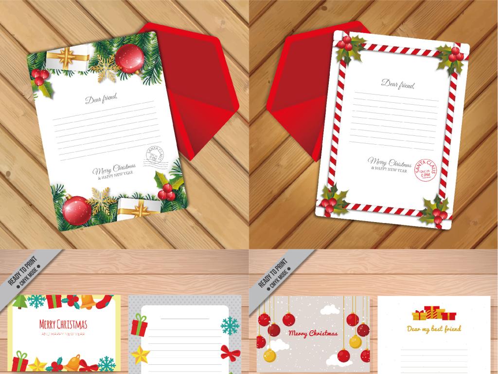 圣诞节圣诞树圣诞老人信纸贺卡模板设计图片