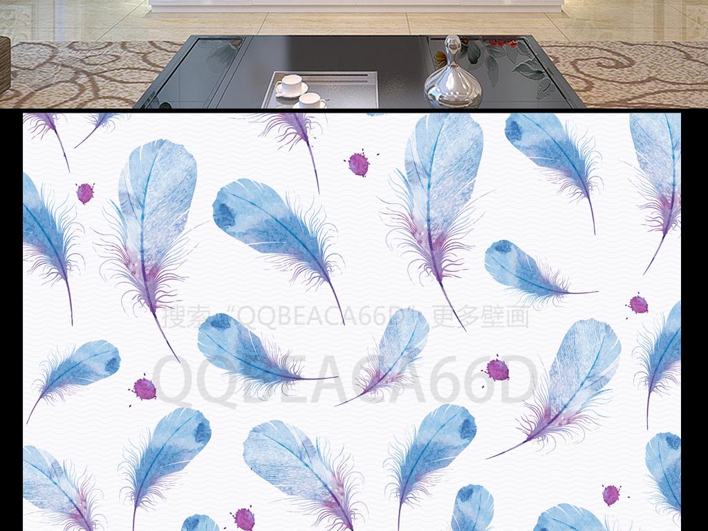 简欧手绘泼墨水彩羽毛欧式背景墙