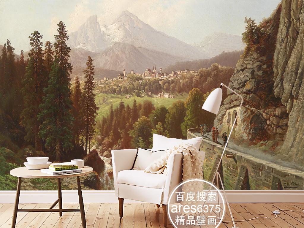 欧式古典风景油画山边小路壁画背景墙