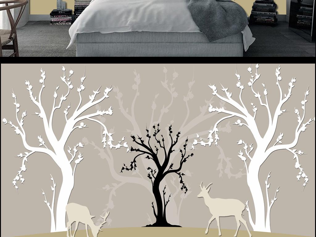 手绘树抽象树简约背景墙