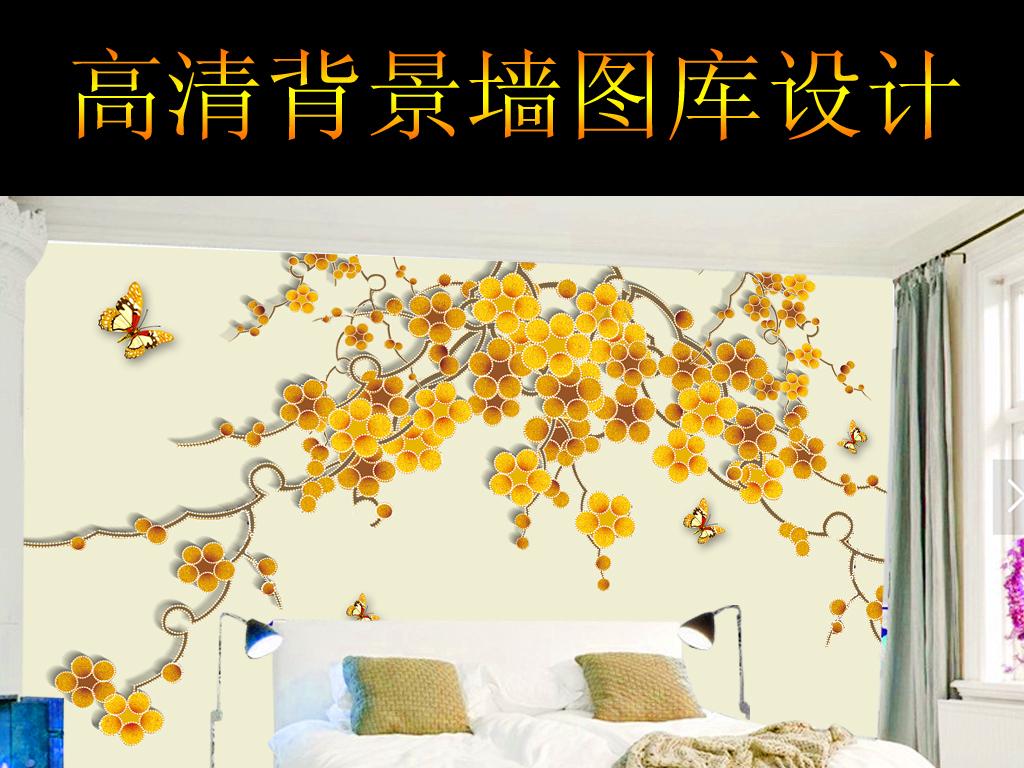 手绘黄色花朵电视背景墙