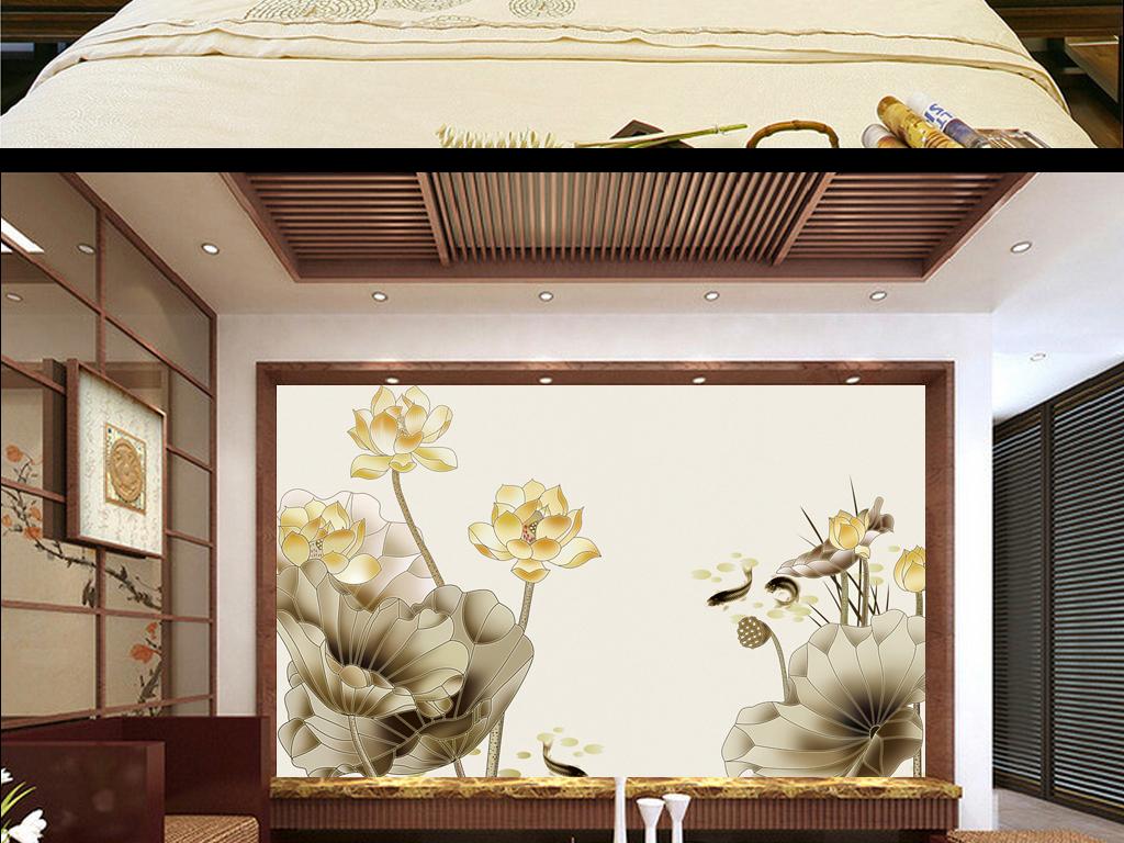 清新复古手绘风格荷花蝴蝶背景墙壁画