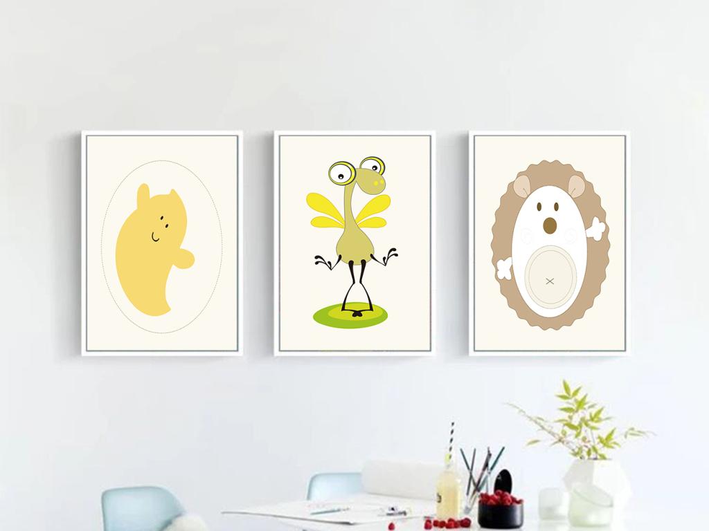 抽象手绘小清新挂画装饰画动物