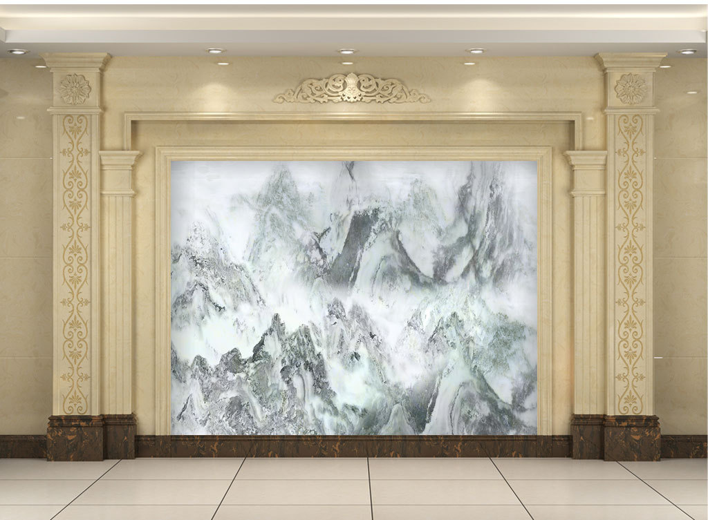 高清大理石纹山水国画锦秀河山电视背景墙