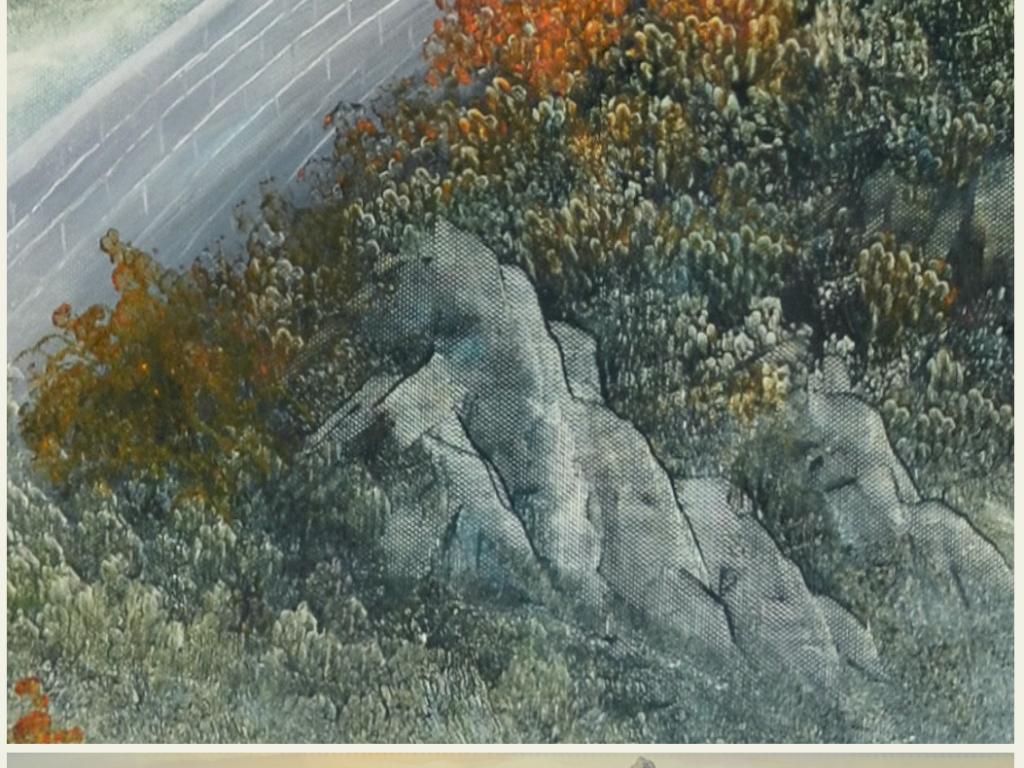 电视背景墙 油画|立体油画电视背景墙 > 纯手绘高清巨幅原创长城刀画