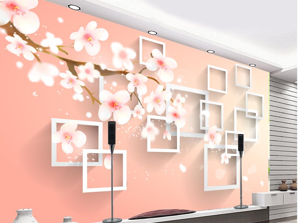 3d手绘桃花方框背景墙