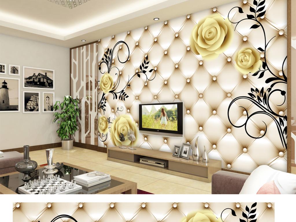 3d立体软包底纹浪漫金色玫瑰背景墙(图片编号:)