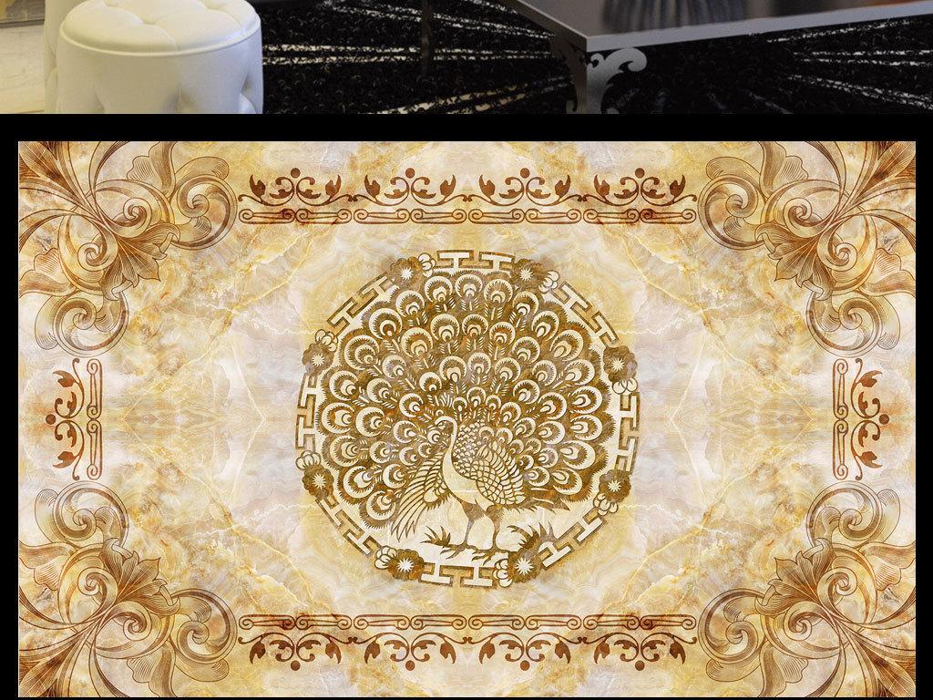 欧式大理石花纹孔雀背景墙(图片编号:15891265)