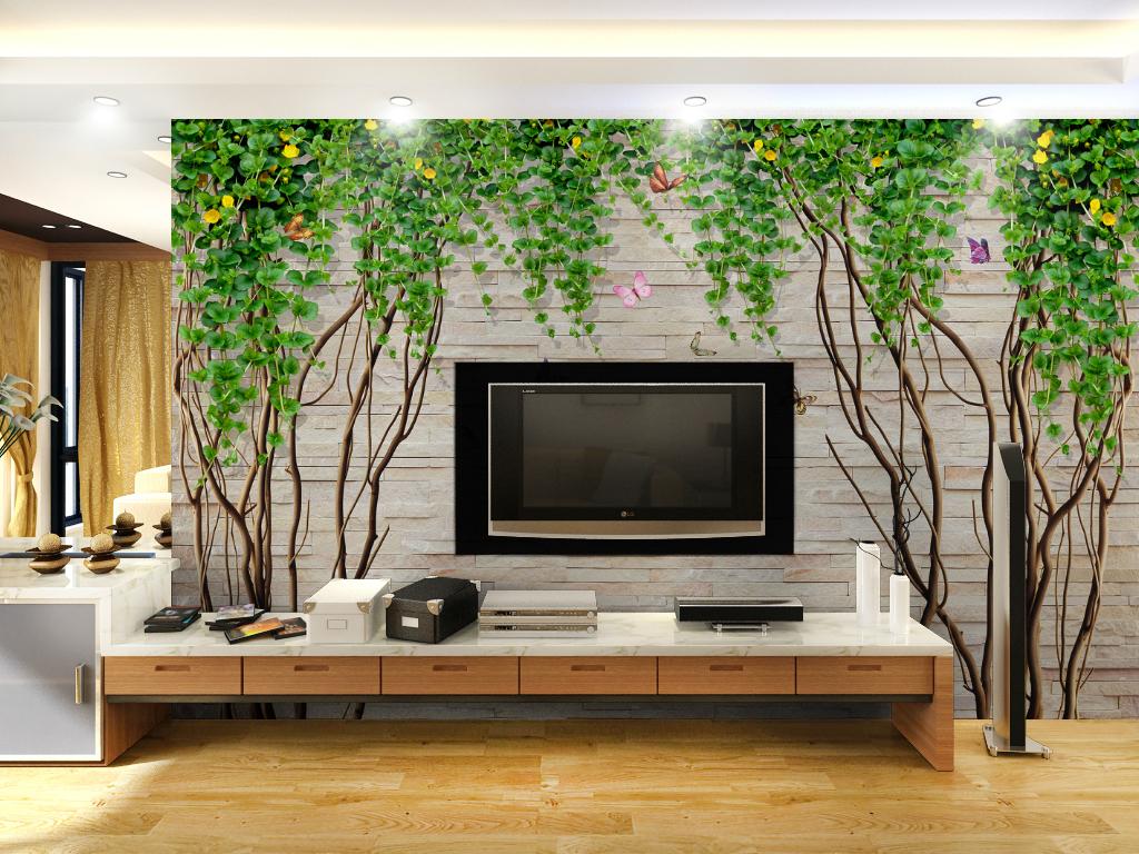 欧式大理石纹花藤藤蔓砖墙背景