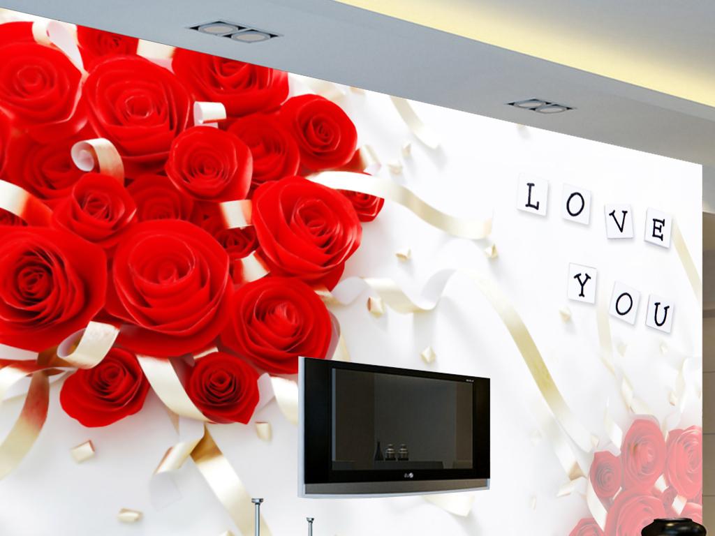红玫瑰结婚喜庆电视背景墙