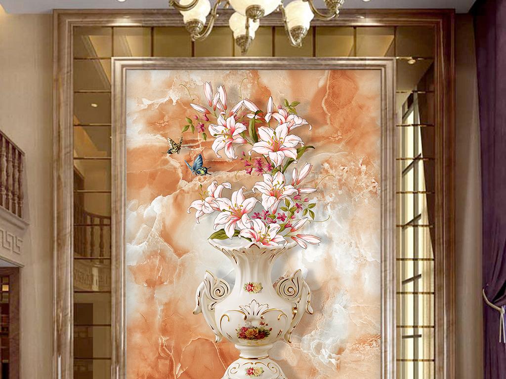 百合花瓶欧式玄关壁画背景墙