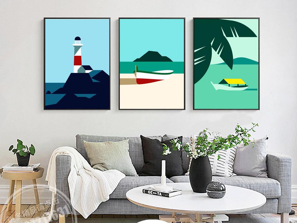 手绘抽象灯塔图片海边灯塔远眺灯塔导航灯塔海上灯塔