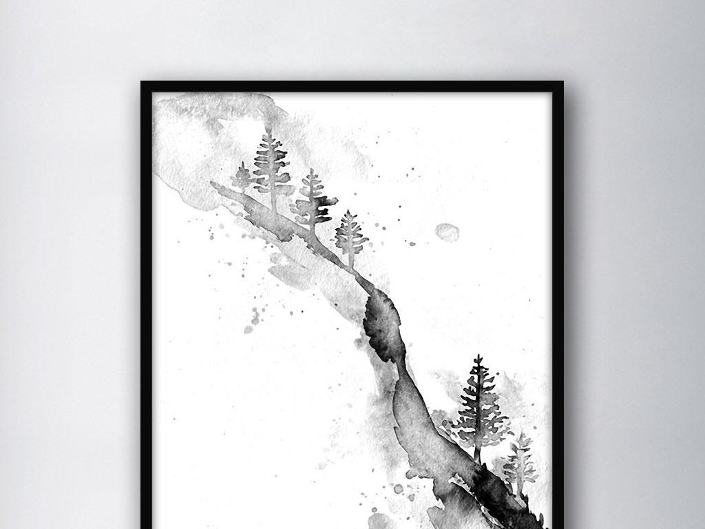 手绘经典风格装饰画无框画图片设计中式风景黑白装饰画现代装饰画中式