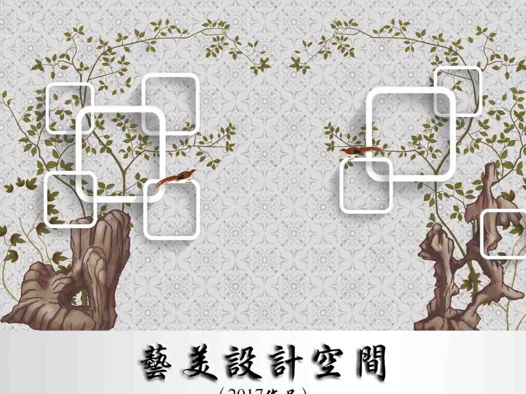手绘拱形欧式花鸟图背景墙