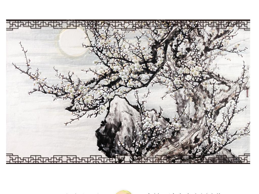 手绘中式古典腊梅电视背景
