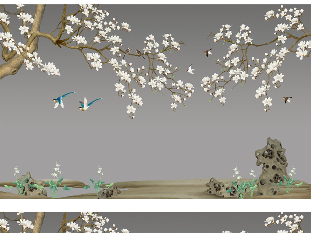 大型壁画手绘花鸟图