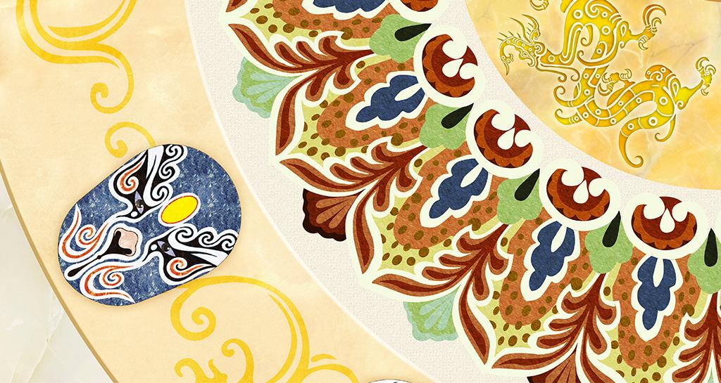 京剧脸谱中式花纹吊顶图片