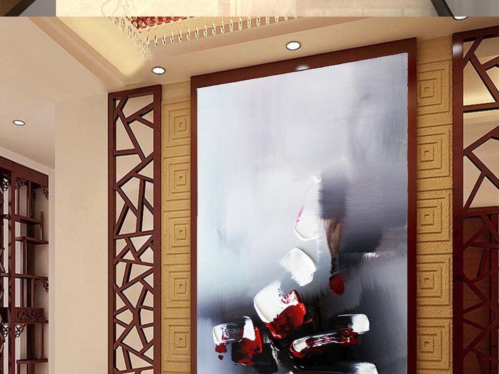 背景墙|装饰画 玄关 油画|立体油画玄关