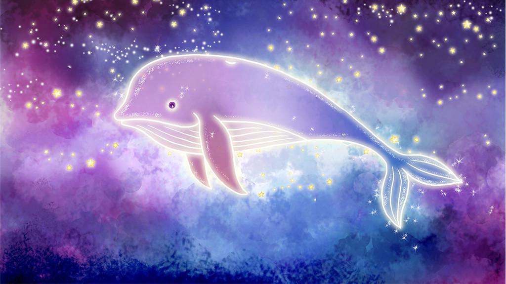 手绘梦幻星空鲸鱼电视背景墙