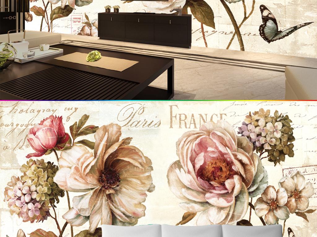 欧式复古怀旧牡丹油画壁纸背景墙