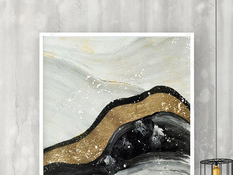 新中式抽象金色山川河流艺术图案无框画