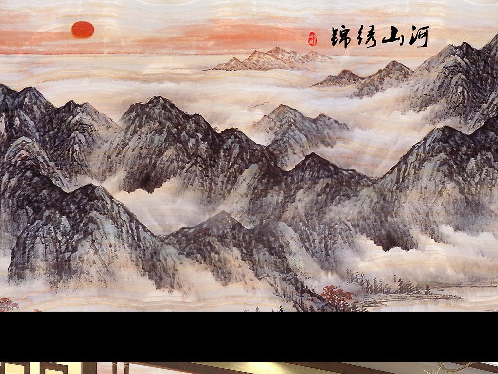 锦绣山河大理石纹图背景墙水墨画黑白装饰画