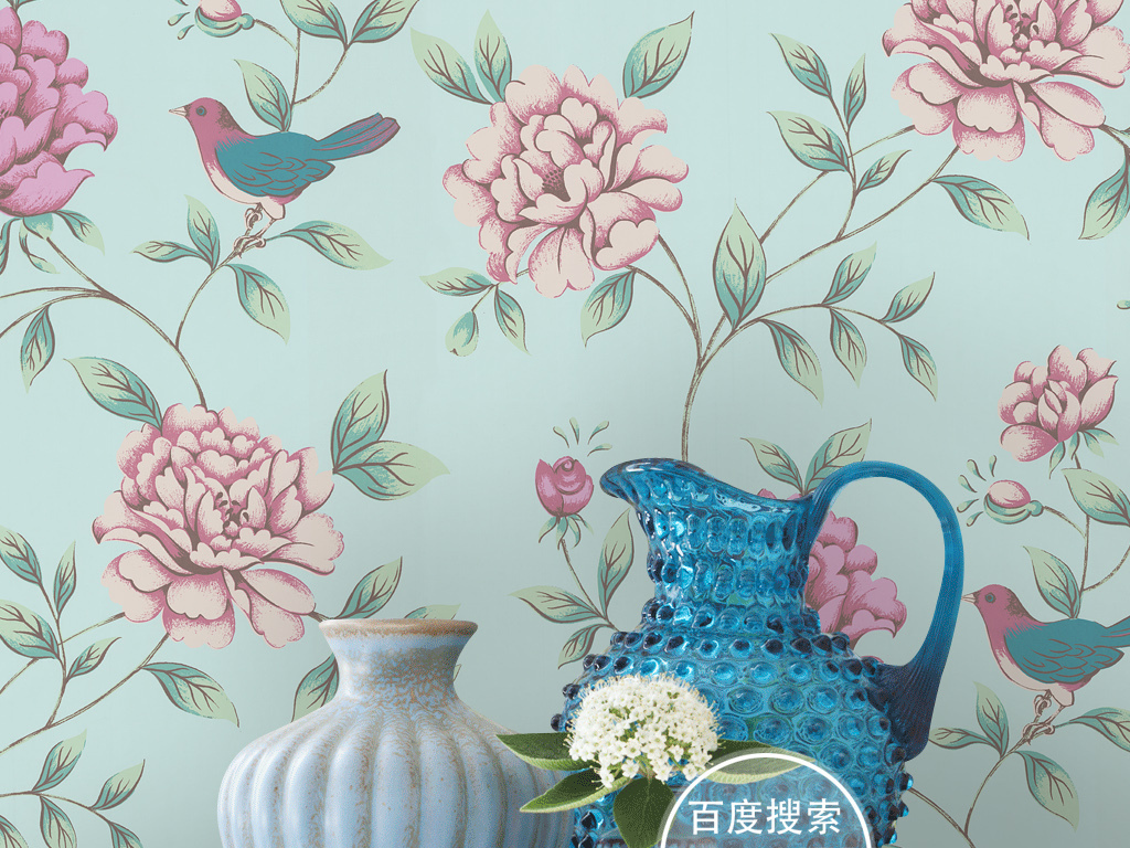 复古欧式手绘花鸟牡丹图案墙纸壁画背景墙