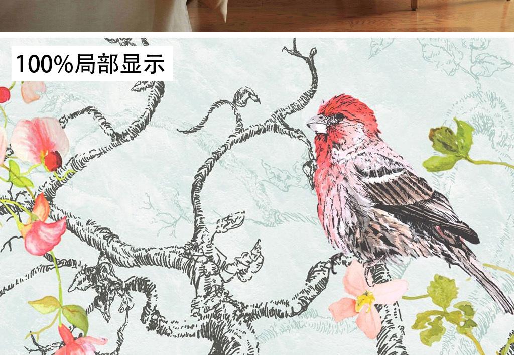 复古欧式手绘花鸟平铺图案墙纸壁画背景墙