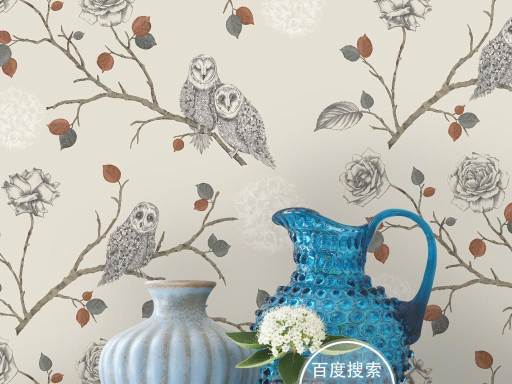 复古欧式手绘花鸟猫头鹰墙纸壁画背景墙(图片编号:)