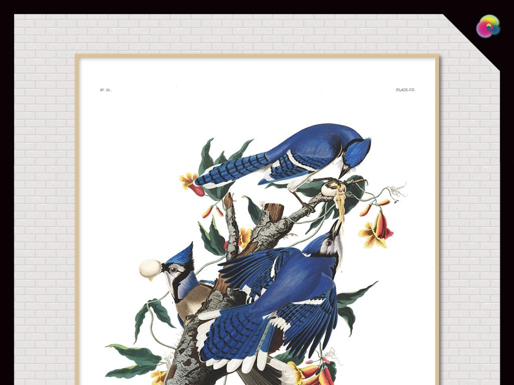 小清新手绘花开富贵中式花鸟电视背景墙